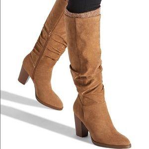 Shoedazzle Faux suede slouch boot